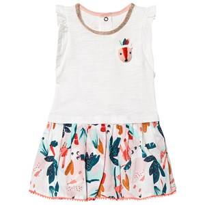 Image of Catimini White Dress with 3D Fox and Floral Print Skirt 6 months