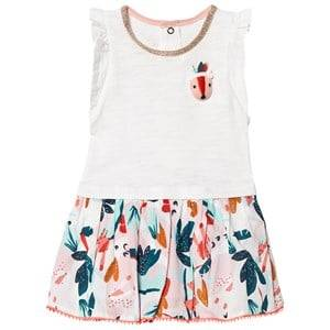 Image of Catimini White Dress with 3D Fox and Floral Print Skirt 2 years