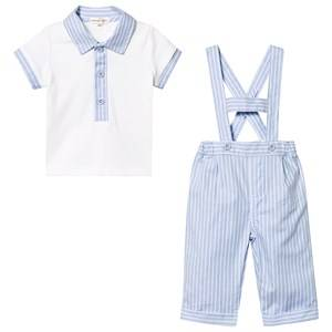 Image of Mintini Baby Blue and White Stripe Short Dungaree and Tee Set 6 months