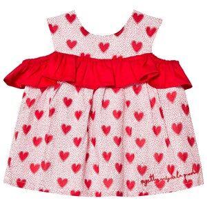 Agatha Ruiz de la Prada Red and White Heart Ruffle Dress 9 months