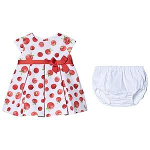 Image of Dr Kid Red Apple Print Ribbon Waist Dress and Bloomers 6 months