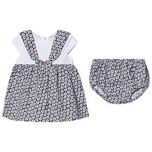 Image of Dr Kid Navy and White Floral Print Dress with Bloomers 9 months