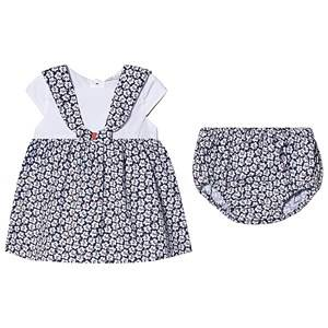 Image of Dr Kid Navy and White Floral Print Dress with Bloomers 3 months