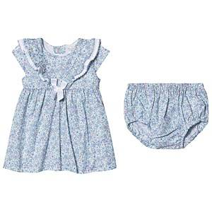 Image of Dr Kid Blue Floral Print Dress with Bloomers 6 months