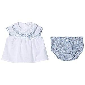 Image of Dr Kid White Frill Emboiderd Blouse with Floral Print Bloomers 6 months