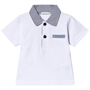 Dr Kid White Polo Top with Gingham Collar 3 months