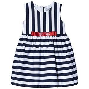 Image of Dr Kid Navy and White Stripe Dress with Red Bow 12 months