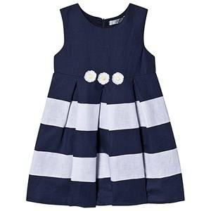 Image of Dr Kid Navy and White Stripe Daisy Applique Linen Dress 6 months