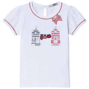 Dr Kid White and Red Home Embroidered Bow Tee 24 months
