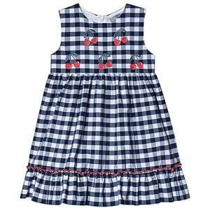 Image of Dr Kid Navy Gingham and Cherry Embroidered Dress 9 months