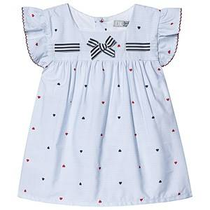 Image of Dr Kid Blue and White Stripe Heart Print with Bow Top 6 months