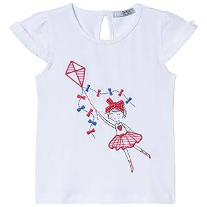 Dr Kid White Girl with Kite Embroidered Tee 4 years
