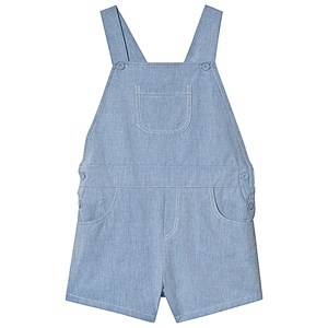Image of Dr Kid Light Blue Chambray Overalls Shorts 6 months