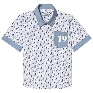Dr Kid White and Blue Sailing Boat Print Shirt 18 months