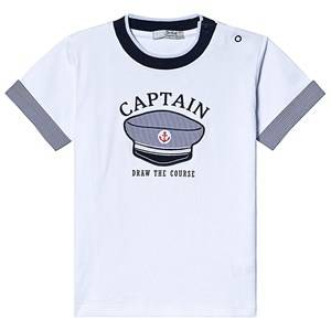 Image of Dr Kid White and Navy Captian Hat Tee 6 months