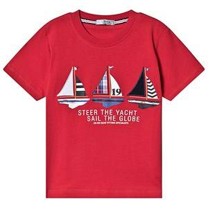 Image of Dr Kid Red Sailing Boat Print Tee 6 years