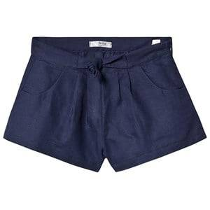 Image of Dr Kid Navy Bow Waist Linen Shorts 6 years