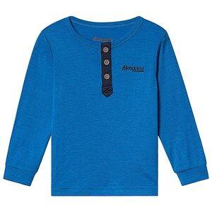 Bergans Myske Wool Kids Shirt Athens Blue Navy Solid Dk Grey 104 cm (3-4 Years)