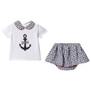 Image of Dr Kid Navy and White Anchor Knit Top with Floral Skirt Bloomers 6 months