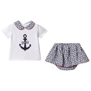 Image of Dr Kid Navy and White Anchor Knit Top with Floral Skirt Bloomers 3 months