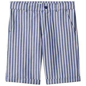 Image of Dr Kid Blue Multi Stripe Cotton Shorts 6 years