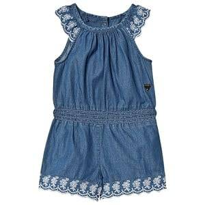 Image of Guess Denim Embroidered Romper Blue 5 years
