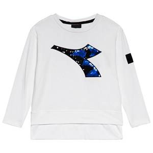 Image of Diadora White Two-Tone Sequin Branded T-Shirt XS (6 years)