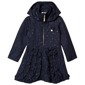 Le Chic Navy Dotted and Ruffled Coat Raincoats