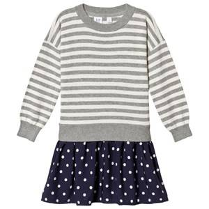 Image of GAP Grey and Navy Stripes & Spots Dress XL (12-13 Years)