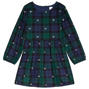 Image of GAP Navy Floral Plaid Dress XS (4-5 Years)