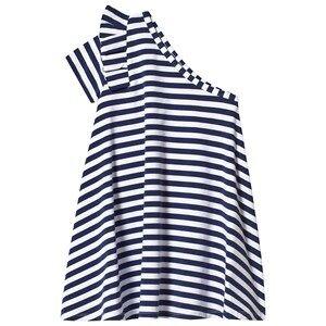 Image of Hootkid Navy White Stripe One Shoulder Frill Sleeve Dress 6 years