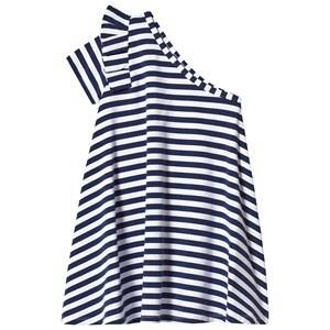 Image of Hootkid Navy White Stripe One Shoulder Frill Sleeve Dress 8 years