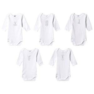 Petit Bateau 5-Pack Baby Bodies White 18 Months