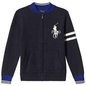 Image of Ralph Lauren Navy and Blue Zip Through Knit Cardigan with Big PP 7 years
