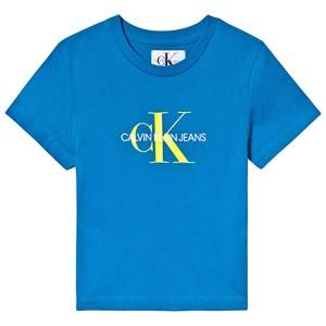 Image of Calvin Klein Jeans Blue and Yellow Monogram Logo Tee 8 years
