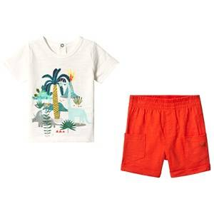 Catimini White Dino and Jungle Print Tee with Orange Shorts 9 months