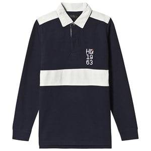 Henri Lloyd Navy Embellished Stripe Rugby Shirt 8-9 years