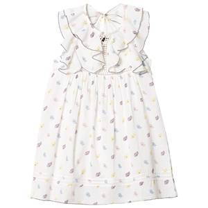 Image of Velveteen White Floral Print Ruffle Sleeve Dress 10 years