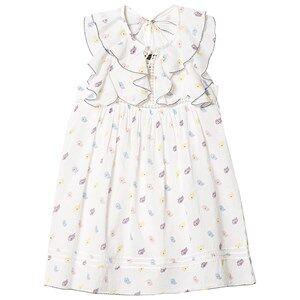 Image of Velveteen White Floral Print Ruffle Sleeve Dress 12 years