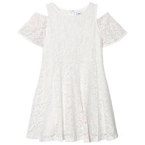 Mayoral Cream & Gold Lurex Lace Cold Shoulder Dress 10 years