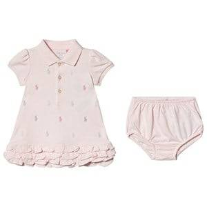 Image of Ralph Lauren Pink All Over Embroidered Pony Dress 9 months