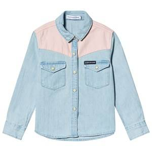 Image of Calvin Klein Jeans Contrast Shirt Blue and Pink 12 years