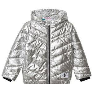 Image of Calvin Klein Jeans Silver Padded Light Bomber Jacket 14 years