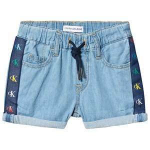 Image of Calvin Klein Jeans Branded Shorts Mid Blue 10 years