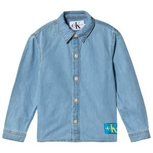 Image of Calvin Klein Jeans Logo Shirt Mid Blue 10 years