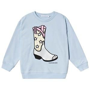 Image of Calvin Klein Jeans Cowboy Boot Sweatshirt Light Blue 16 years