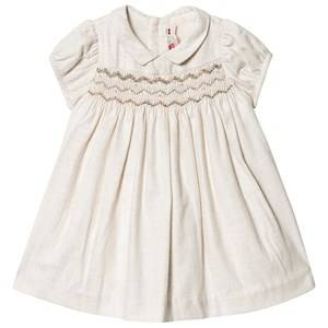 Image of Bonpoint Smock Embroidered Dress Cream 6 months