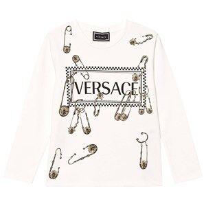 Versace Safety Pin Logo Long Sleeve Tee White 4 years