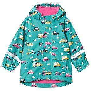 Frugi Puddle Buster Jacket Aqua Rainbow Roads Raincoats