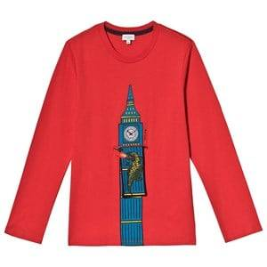 Paul Smith Junior Big Ben Print Interactive Long Sleeve Tee Red 3 years